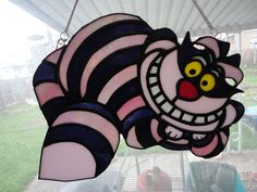 Stained Glass Cheshire Cat by LotusImmortal on Etsy Disney Stained Glass, Stained Glass Birds, Faux Stained Glass, Stained Glass Projects, Stained Glass Patterns, Stained Glass Windows, Fused Glass, Stained Glass Tattoo, Stained Glass Cookies