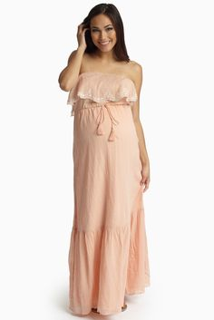 The most gorgeous summer staple, a lightly hued embroidered overlay linen maternity maxi dress to dress your bump in style this warm weather season. Peach-Embroidered-Overlay-Linen-Maternity-Maxi-Dress
