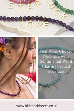 Colour and positivity in one gemstone choker necklace. The charms spell out a positive sentiment, star, love, luck, peace, smile or joy or maybe his and her initials. Gemstone Colors, Gemstone Beads, Aquamarine Colour, Letter Charms, Blue Lace Agate, Handmade Necklaces, Jewelry Gifts, Initials, Beaded Necklace