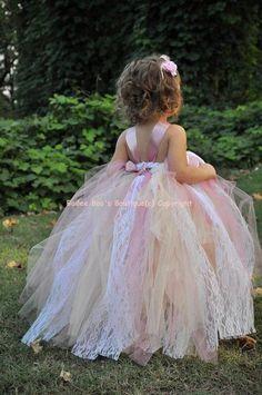 Beige Mauve Antique Style Tutu Dress 2 Toddler  to 4 Toddler. $64.00, via Etsy.