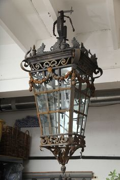 great antique hanging lantern ~ love the aged patina Hanging Lanterns, Candle Lanterns, Art Deco Lighting, Lighting Design, Light Fittings, Light Fixtures, Antique Lanterns, Lantern Post, Iron Chandeliers