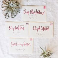Pure White envelope with burgundy watercolor calligraphy name(s) and hand lettered address. Each envelope is hand painted with your guests name.
