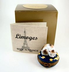 Parry Vieille Limoges Box - Kitty Cat Curled Up Sleeping in the Stars