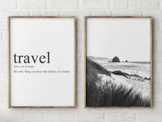 Excited to share the latest addition to my #etsy shop: Travel Quote Cannon Beach  Print set of 2, Black and White  beach photos, surf home decor,