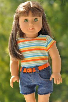 18 inch doll clothes AG doll clothes Girl doll clothes Jean cutoff shorts and striped top