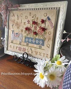 Happy Tuesday! ♥️♥️ the sheep is all finished up .. come on over to the blog and see it! Link in IG profile .. priscillas2000.blogspot.com #withthyneedleandthread #thrifting #patrioticdecor #patrioticstitching #crossstitch #summerstitching #farmh...
