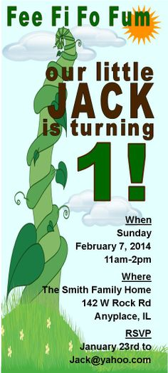 I create invitations you can inexpensively print (for example at Officemax or Staples) or send as email attachments.  This one is from a one year old's birthday party - Jack and the Beanstalk invitation.