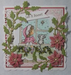 ink'n'rubba: Christmas in July, Lili of the Valley stamped image coloured with Copics, die cut embellishments from Marianne Design
