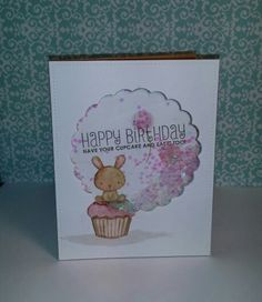 Birthday shaker card featuring Mama Elephant Carnival Cupcakes stamp set. Made by Curl E Cue's.