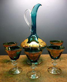 Venetian Glass Decanter, Gold Gilded Glasses