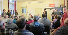 18 year old Westmorland and Lonsdale Labour Party prospective parliamentary candidate Eli Aldridge addressing the campaign launch meeting, Cat Smith the prospective parliamentary candidate for Lancaster and Fleetwood, and Labour peer and former MP Lord David Clark and others listen in.  Kendal 10 May 2017