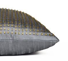 Decorative Throw Pillow Grey Gold Silk Pillow Cover by AmoreBeaute