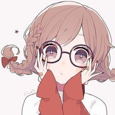 The glasses is too big(? Anime Girl Cute, Beautiful Anime Girl, Kawaii Anime Girl, Anime Art Girl, Anime Girls, Anime Chibi, Manga Anime, Loli Kawaii, Kawaii Art