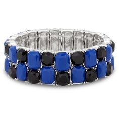 Designer blue facet bead stretch bracelet ($6.30) ❤ liked on Polyvore featuring jewelry, bracelets, beading jewelry, facet jewelry, blue jewelry, blue jewellery and beaded jewelry