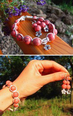 Set healing bracelet earrings pink turquoise by ThingsFromShela