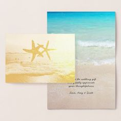 Gold Foil Starfish Beach Wedding Thank You Notes Foil Card