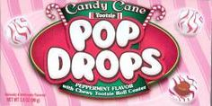 Candy Cane Tootsie Pop Drops. A holiday version of classic tootsie pops drops. These have a red and white peppermint flavored shell with the tootsie roll centers.