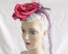1940's Vintage Hair Piece Hat Fascinator with Huge Pink Flower and Netting