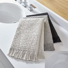 Shop Sola Hand Towels. Our neutral yet fashion-forward hand towels update the bath with a relaxed washed waffle weave and graceful fringe.