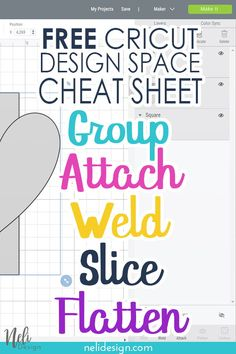Get his one-page cheat sheet for free and find out all group, attach, weld, slice and flatten tools. Everything you need to know in a glance about 5 essential Cricut Design Space functions. No long tutorial to read. Straight to the point. A great reminder How To Use Cricut, Cricut Help, Cricut Explore Projects, Cricut Explore Air, Cricut Air 2, Cricut Craft Room, Cricut Fonts, Scrapbooking, Affinity Designer