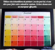 utilisez des échantillons de peinture un vitre et un marqueur pour faire un calendrier