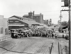 """""""Auto tourists in Fruit Packing District."""" Fresno, Calif., c 1915 http://www.shorpy.com/node/20350 Howard Clinton Tibbitts"""