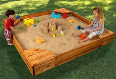 Love this sandbox! Whether they like to build sandcastles, dig for treasure, or just play with their favorite sand toys, kids can get creative in the comfort of their own backyard with this beautifully crafted backyard sandbox. Mesh cover included.