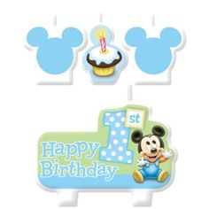 Mickey Mouse 1st Birthday Candles 4ct - Party City