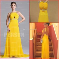Wholesale Evening Dresses - Buy 2014 Backless Evening Gowns Yellow Halter Sexy Keyhole A Line Long Sweep Train Beaded Formal Party Dresses Vestidos De Fiesta Actual Image, $119.32 | DHgate