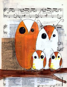 'Family of Owls on Music Page' by Kelly Cook