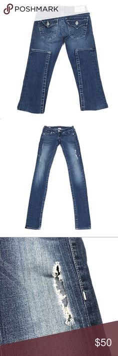 """True Religion Skinny Jeans Distressed Size 24 True Religion Distressed Blue Jeans Size 24  Waist: 13"""" flat across top  Rise: 7""""  Inseam: 33""""  Condition: Excellent pre-owned condition. Flaws shown in photos. True Religion Jeans Skinny"""