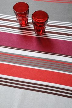 Stof - Nappe enduite à rayures LORETTE - 90% Coton 10% Polyester Polyester, Stripes, Tableware, Diy, Outfits, Ideas, Hand Weaving, Oilcloth, Tablecloths