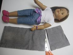 American girl doll jeans made from scraps of old jeans. American girl doll jeans made from scraps of old jeans. American girl doll jeans made from scraps of old jeans. American girl doll jeans made from scraps of old jea American Girl Outfits, Ropa American Girl, American Girl Crafts, American Doll Clothes, American Dolls, Sewing Doll Clothes, Sewing Dolls, Girl Doll Clothes, Doll Clothes Patterns