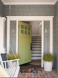 Love the style of this door and the exterior house color. Steve is not a fan of the green for a door