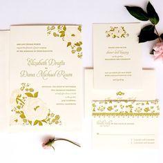 Floral Letterpress Wedding Invitation honey-paper.com