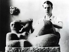 the great English sculptor, Henry Moore (July 30, 1898 - 1986). He is best known for his abstract monumental bronze sculptures which are located around the world as public works of art.    Henry Moore, w. a version of: Reclining Figure, 1929