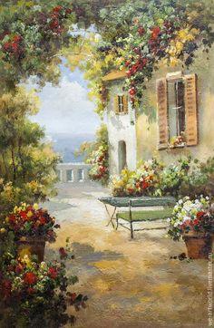 """Купить Средиземноморский пейзаж маслом """"Под сенью цветов N3"""" - картина для интерьера, картина в подарок"""