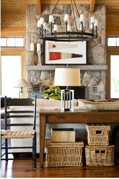 If you have a sofa located in the center of the living room, and want to decorate behind him, you'll love this decorative storage idea. Cozy Cottage, Cozy House, Rustic Chandelier, Chandeliers, Decorative Storage, Cabin Homes, House And Home Magazine, Beautiful Interiors, Beautiful Homes