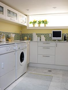 You would never know this laundry room were in the basement.  So light and airy!