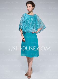 Mother of the Bride Dresses - $128.99 - Sheath Scoop Neck Knee-Length Chiffon Lace Mother of the Bride Dress With Beading (008025714) http://jjshouse.com/Sheath-Scoop-Neck-Knee-Length-Chiffon-Lace-Mother-Of-The-Bride-Dress-With-Beading-008025714-g25714
