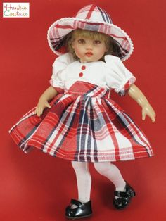 CHRISTMAS DOLL DRESS FITS RILEY HELEN KISH KNIT TIGHTS HAT by HANKIE COUTURE
