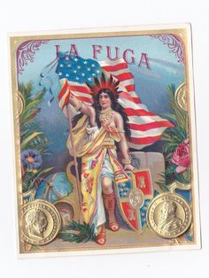 urbitrend-collectables - 1 cigar label La Fuga outer - native american indian with flag, €3.50