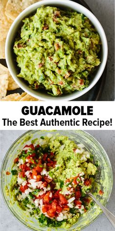 This guacamole recipe is simple to make and uses fresh, high quality ingredients. It's easy, authentic and delicious! A traditional Mexican guacamole and the best ever dip or appetizer. Healthy Recipes Best Ever Guacamole (Fresh, Easy & Authentic) Authentic Guacamole Recipe, Best Guacamole Recipe, Fresh Guacamole, Chipotle Guacamole Recipe, Chunky Guacamole Recipe, Cilantro Recipes, How To Make Guacamole, Recipes For Guacamole, Gastronomia