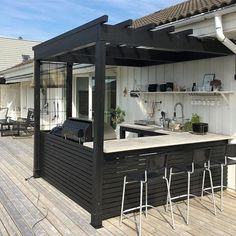 Outdoor Makeover delivered a plan which is a lot superior than the competitors from design to construct. There are several outdoor kitchen suggestions. 25 Awesome Ideas To Makeover Outdoor Kitchen Decor Backyard Bar, Backyard Kitchen, Backyard Patio Designs, Patio Ideas, Outdoor Ideas, Modern Backyard, Summer Kitchen, Backyard Landscaping, Low Deck Designs
