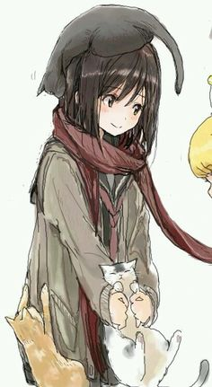 this really reminds if Mikasa from Attack on Titan. The scarf, black hair, and t… this really reminds if Mikasa from Attack on Titan. The scarf, black hair, and the hair cut. Manga Anime, Manga Girl, Anime Art, Anime Girls, Manga Cat, Chibi, Anime Style, Desu Desu, Image Manga
