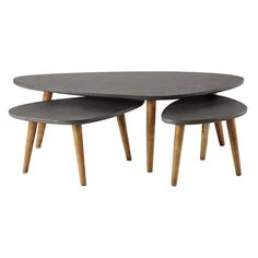 3 tables basses en bois ... - Cleveland