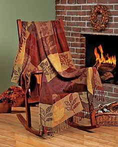 """Lovely Fall Autumn Leaves and Plaid Chenille Throw Blanket 60"""" ~NEW~"""