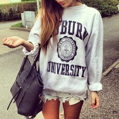 Auburn sweatshirt and cute cutoffs