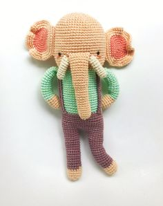 This is a PDF CROCHET PATTERN, NOT THE FINISHED DOLL.  Marlon, the fancy elephant is an original amigurumi pattern, so you can crochet your own