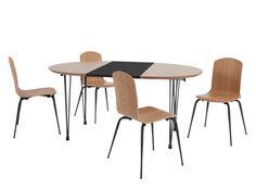 Ryland, ensemble table et 4 chaises, chêne et noir